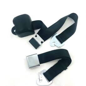 Seat Belt (Black) with Chrome Lift Lever, 3 Point Inertia / Retractable
