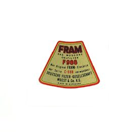 Decal, Fram Oil Filter Top Cover  - all 356