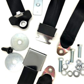 Seat Belt (Black) with Chrome Lift Lever, 3 Point Static